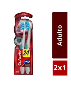 Cepillo dental colgate luminous white no.360med  2x1